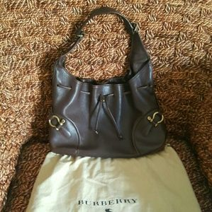Authentic Brown Leather Burberry Bag